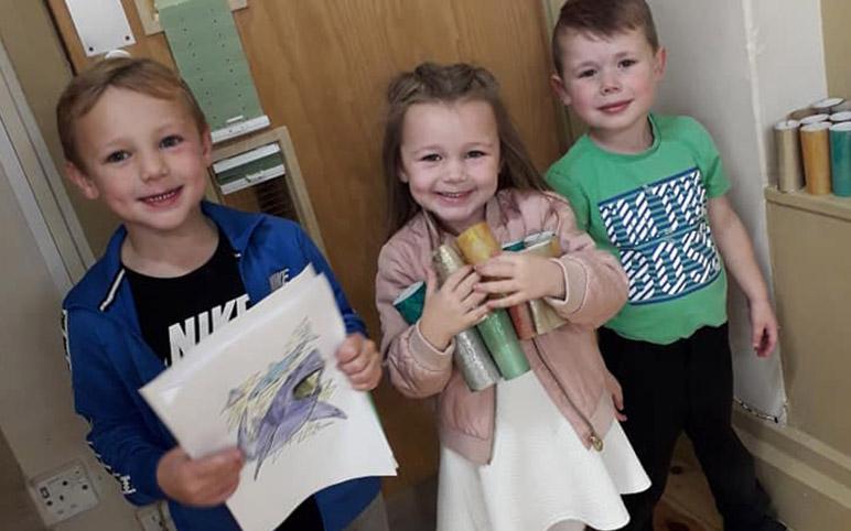3 Children at Craft Club