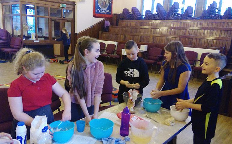 Children Making Playdough